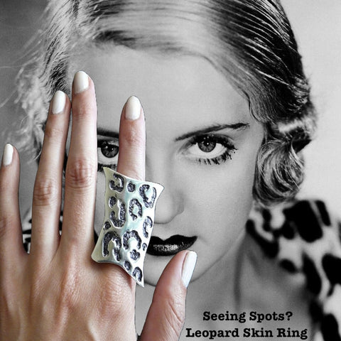 "Bette Davis in Seeing Spots Leopard Ring.What can I say about this ring, except that it is PURRRfect? Shades of ""Mad Men""! This ring brings back everything wonderful about the mid-60's--there is something simultaneously feminine and masculine about leopard skin. I mean, both Steven Tyler and Lady Gaga would be equally at home in fun statement piece. I'm so excited about this ring--for, as you know, my goal is to have my jewelry make you feel very special, and to create something you will want to wear foreve"