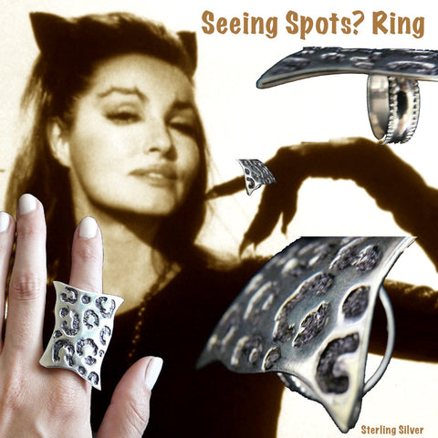 "Meow! The PURRRRFECT Cocktail Ring! Sterling Silver ""Seeing Spots"" Faux Leopard Skin Ring. Made in the USA. Hand signed. 1-1/2"" x 1"" approximately."