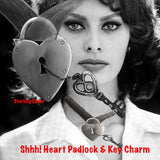 "Sophia Lauren in Fablesintheair.com ""Shhh! Heart Padlock & Key Charm.t takes a lot of trust to dangle the key to one's heart so near the protective lock, but what fun is playing it safe in love? Sterling Silver Heart Padlock and tiny Victorian key, hanging by a beautiful strand of Sterling Silver chain. Hey, a little mystery is always good.  So is a little Mambo Italiano."
