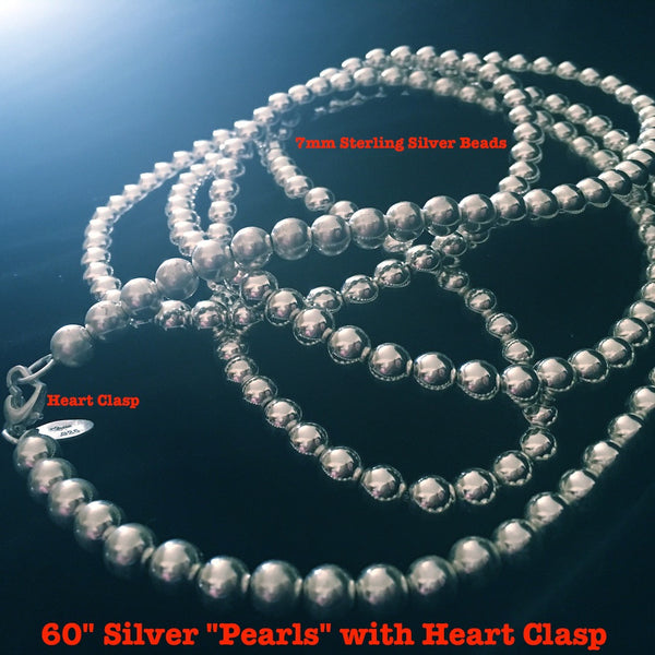 "60"" Silver ""Pearls"" with Heart Clasp"