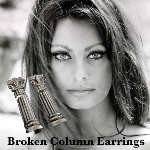"Finally! An earring as elegant as you. A Fables' ""classic"". Broken column earrings with a hidden jump ring, so that the movement is subtle, elegant and mysterious. As with their inspiration, these are timeless. (Now, play the ""Where's Waldo"" of jewelry game and look within our store for the ""Broken Column"" pin, charm and necklace shortener!) Sterling Silver Broken Column Earrings with Sterling Silver Clips-1-1/2"" x 7/8"" Hand Made in America. Hand Signed. Specially boxed and ready to give (or KEEP!)"