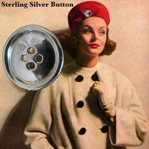 Sterling Silver Button Charm-