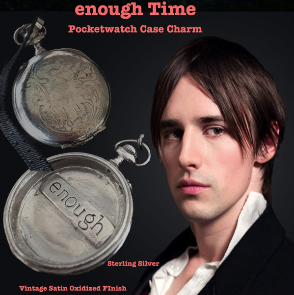 "Reeve Carney, Penny Dreadful's Dorian Gray. Showtime. The Dorian Gray Collection.Look at this twice. It's not a shout, it's serene whisper--a quiet reminder that we are each enough,just as God made us--it's also the perfect amount of time each of us requests for this beautiful life. A substantial piece at appproximately 2"" in diameter. Hand-signed and hand made in America. Comes with a yard of leather cord or vintage-looking ribbon. Specially wrapped.  Sterling Silver Vintage Inspired Pocket Watch Case with"