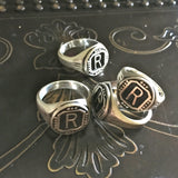 "Riff Raff's ""R"" Vintage Finish Sterling Silver Signet Ring as worn by Reeve Carney (Penny Dreadful) in Fox's Rocky Horror Picture Show"