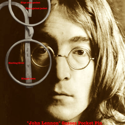 "Imagine ""John Lennon"" glasses which look real as if they are hanging over your jacket pocket--but are actually pinned to the inside of your jacket! Movable, hinged ""stem"". True to my Tongue in ""Chic"" style. All in groovy Sterling Silver.  4-1/2"" x 2-1/8"" approximately.  Sterling Silver Round John Lennon Glasses Pocket Pin."