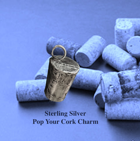 """Pop Your Cork""  Cork Sterling Silver Charm"