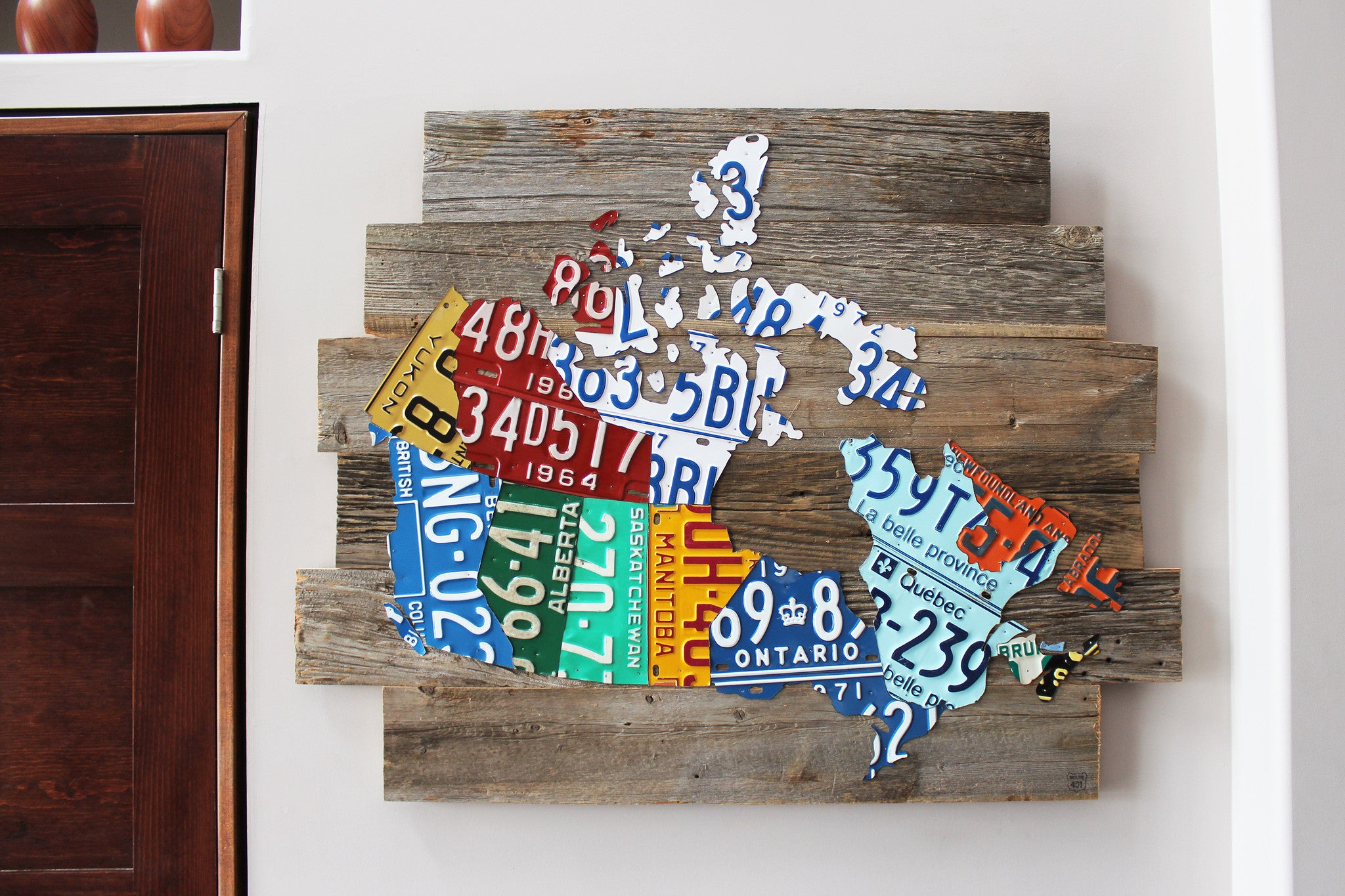 Barnboard License Plate Map of Canada - Grey on map wall decor metal art, map made of books, map white on white art, map made of tools, map of united states license, map made of paper, map made of flowers, map made of buttons,
