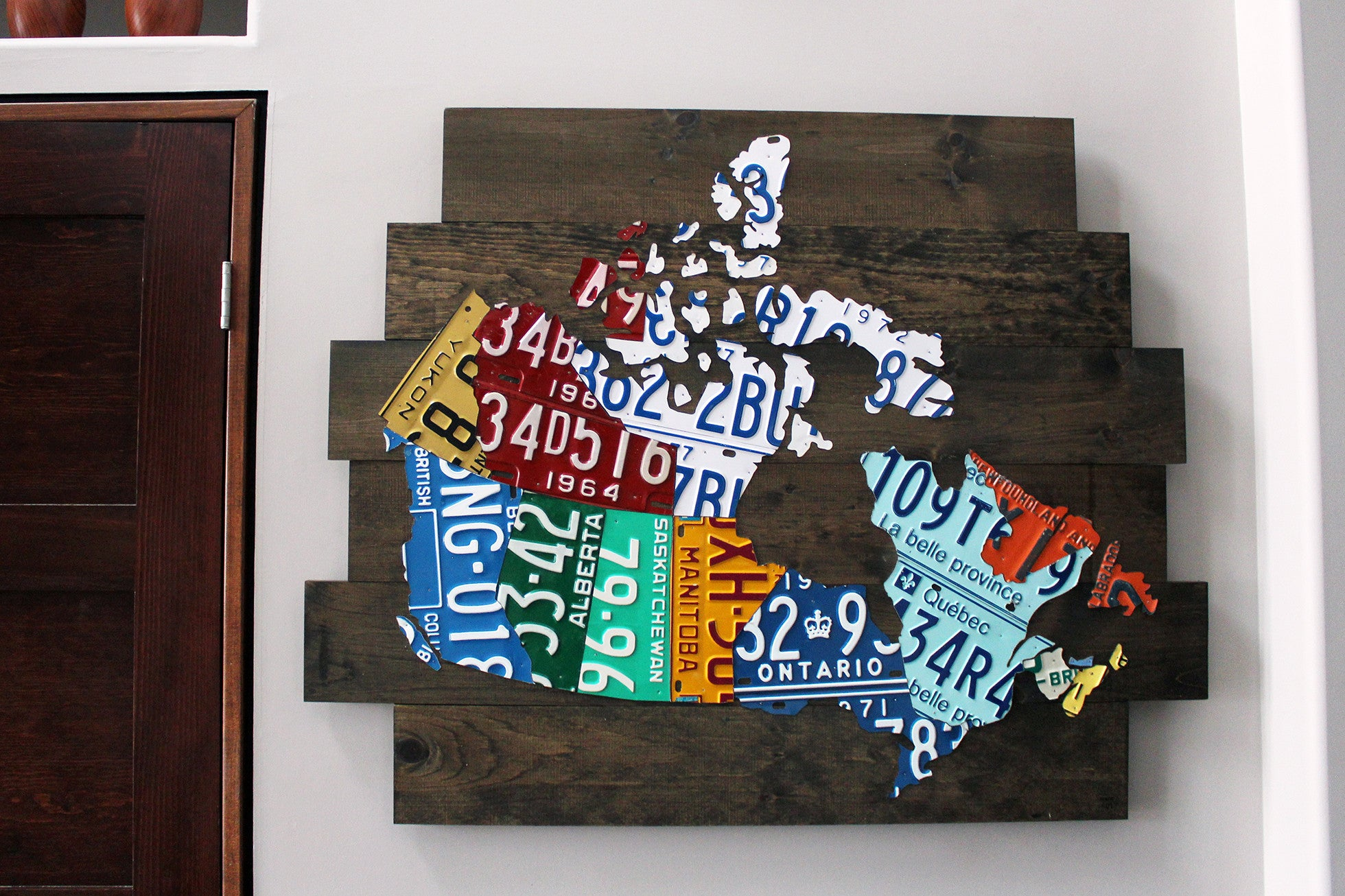 License Plate Map Of Canada Map of Canada License Plate Art Vintage Industrial Art Handmade