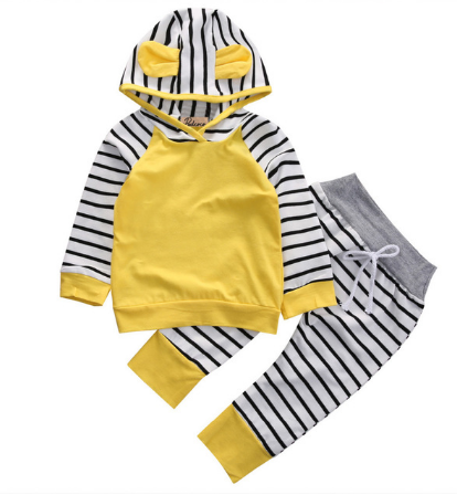 Adorable  2pc Autumn Yellow Striped Romper  with Hood
