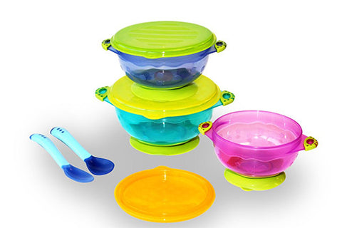 Spill Proof and Stay Put Suction Baby Bowl Set with Lids And Temperature-Sensitive Spoons