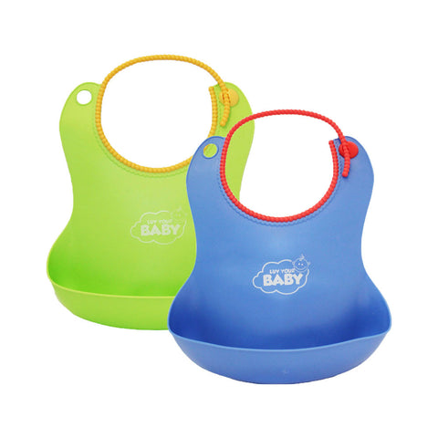 Luv Your Baby Blue/Green Silicone Bibs, 2-Pack, With Food Catcher