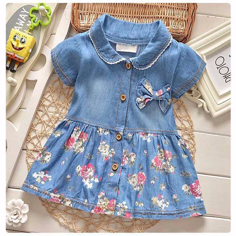 Adorable Denim Floral Dress with Bow Design