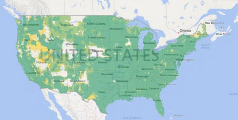 Our Current Coverage map (Green Areas 4G LTE) (Yellow Areas 3G)