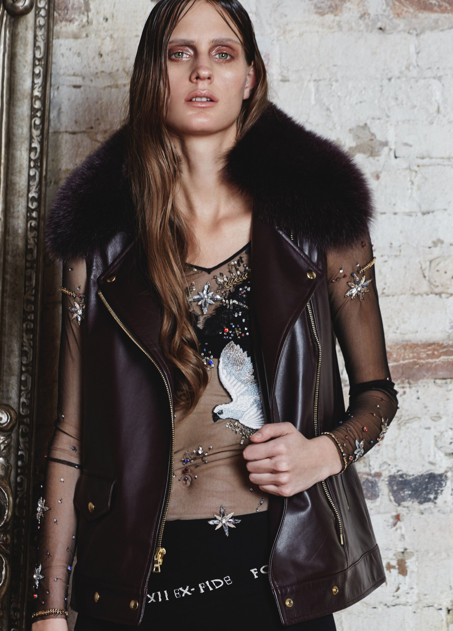 Sleeveless Embroidered Biker With Fur Collar