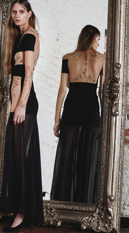 Embroidered Jersey And Mesh Gown