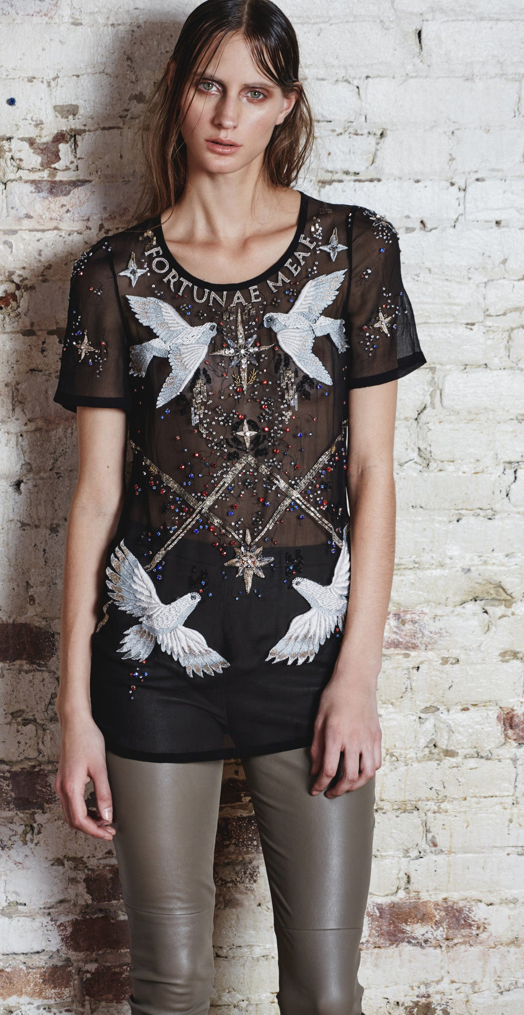 Embroidered Chiffon T-Shirt