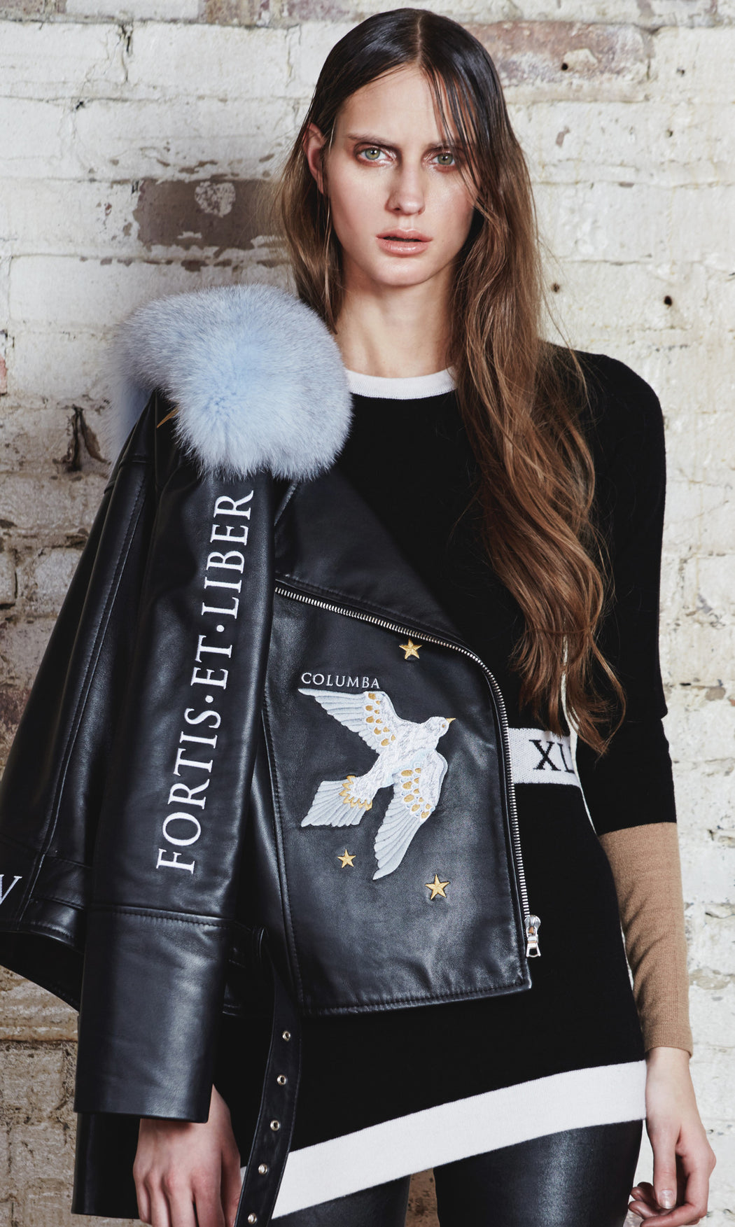 'FORTIS ET LIBER' Biker Jacket With Fur Collar