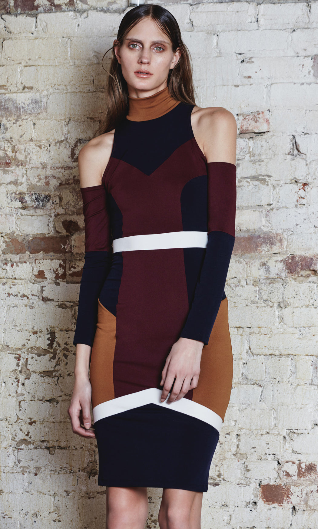 Multi-Colored Jersey Midi Dress