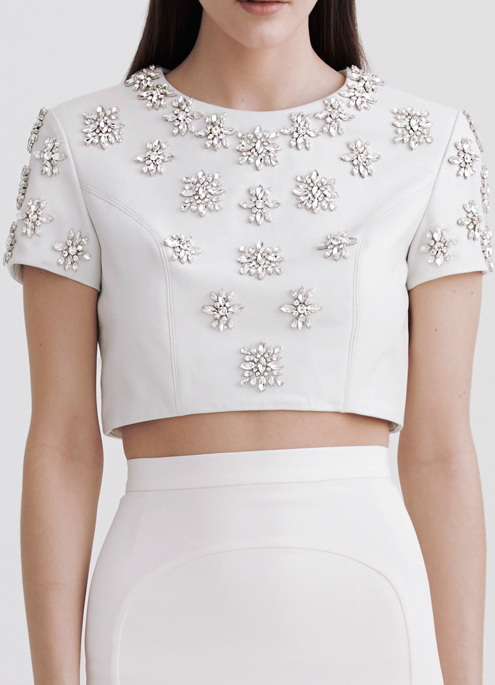 Embroidered lamb-leather crop top