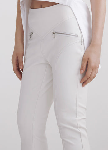 White stretch lamb-leather biker pants