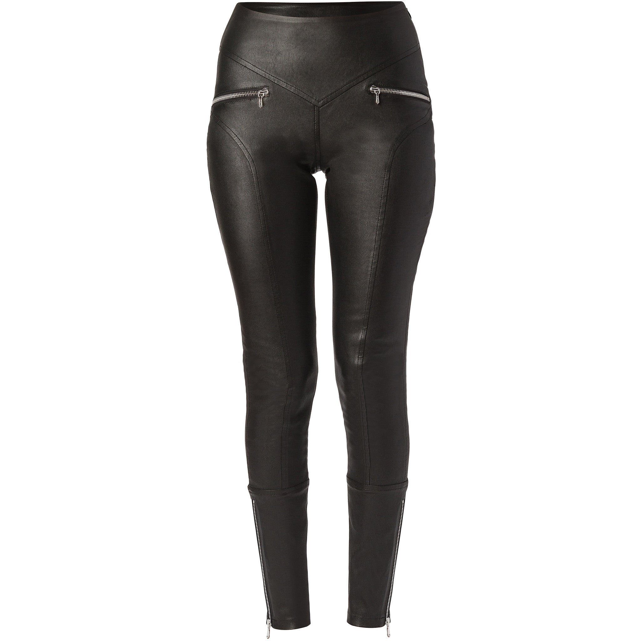 Black Stretch lamb-leather biker pants