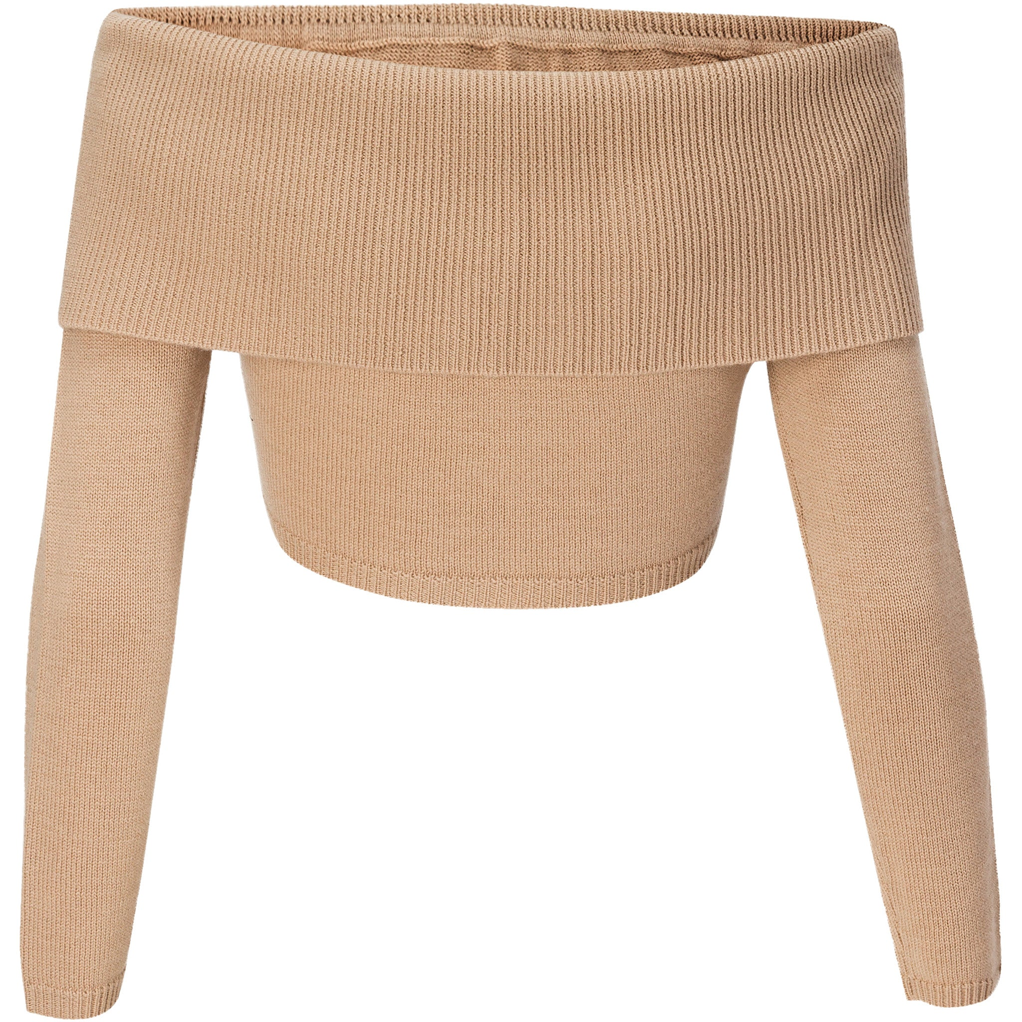 Camel off-shoulder wool-cashmere crop sweater