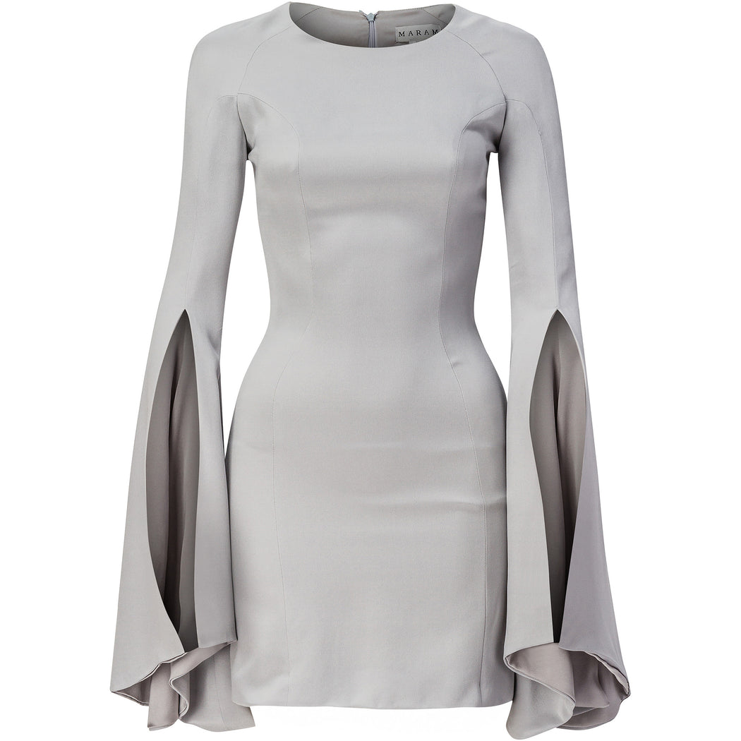 Grey silk mini dress