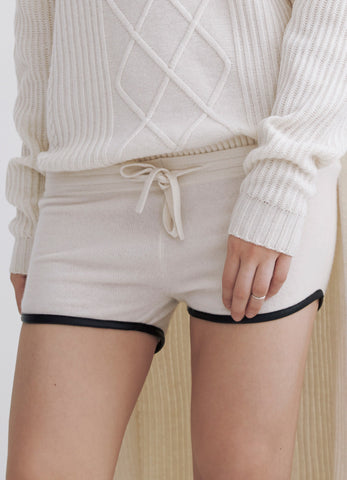 Cashmere shorts with leather trim