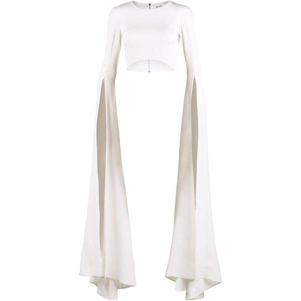 Ivory Crop Top With Long Flared Slit Sleeves