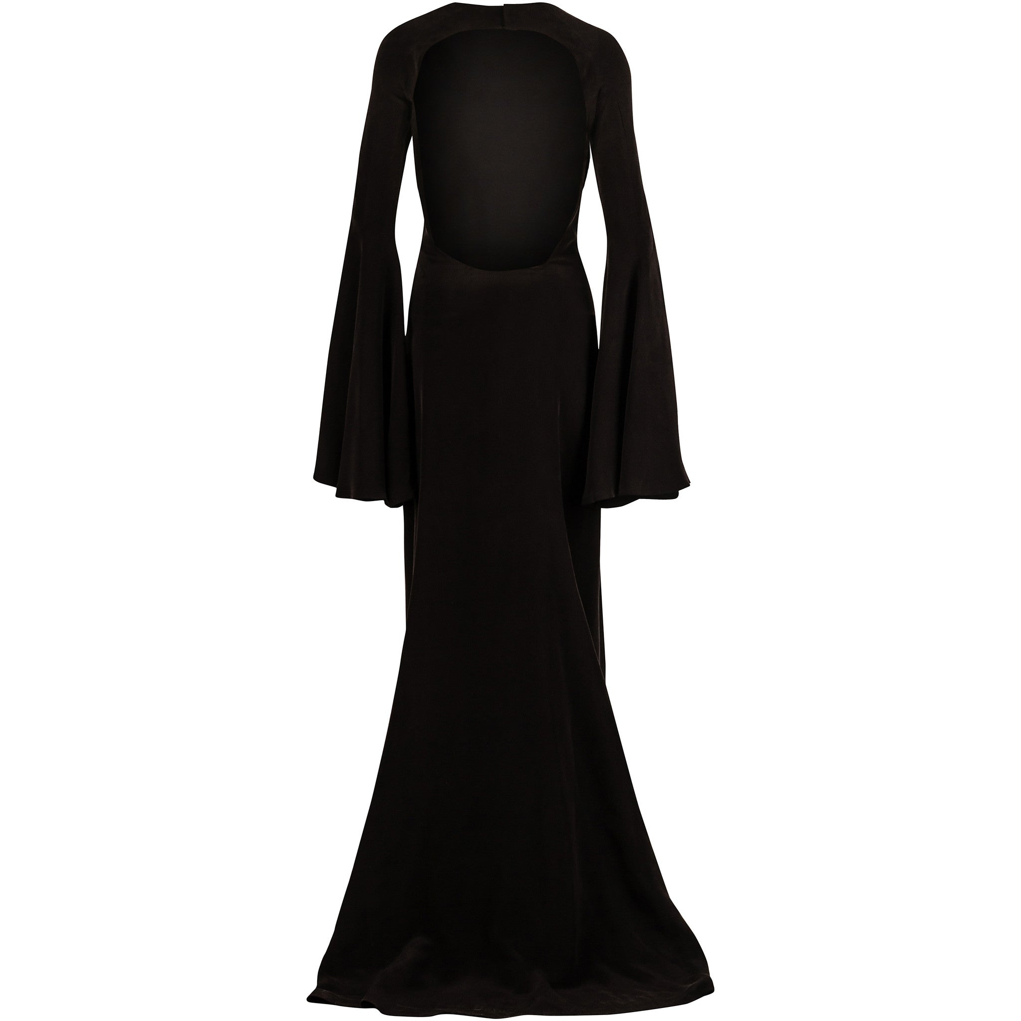 Black Open-back silk gown with flared sleeves and slit