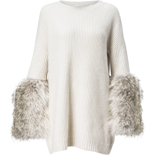 Ribbed cashmere and coyote fur sweater dress