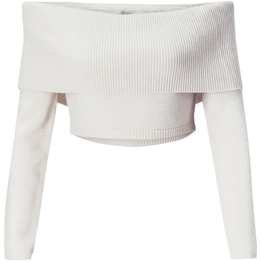Ivory of Off-shoulder wool-cashmere crop sweater