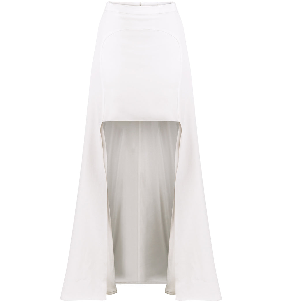 Ivory High-Low Panelled Skirt