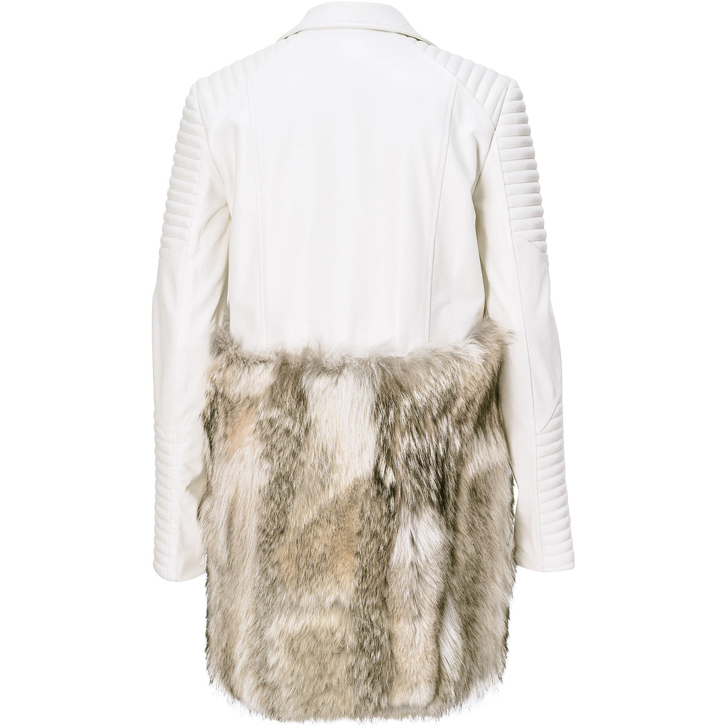 Ivory Lamb leather and fur biker