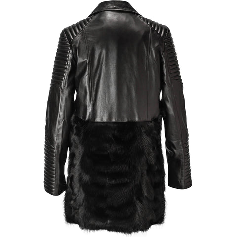 Black Lamb leather and fur biker