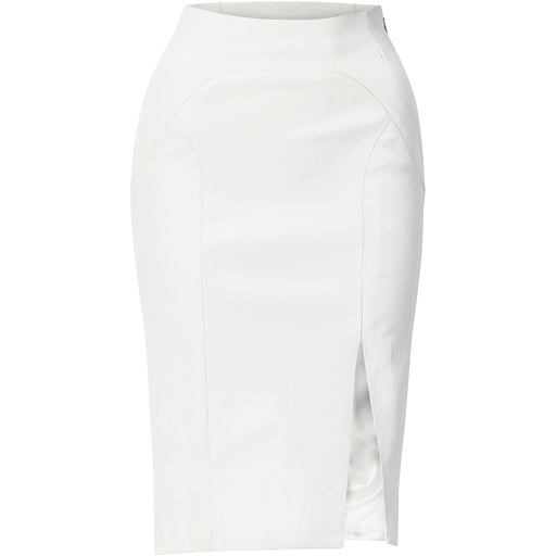 Ivory stretch lamb leather pencil skirt
