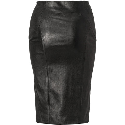 Black stretch lamb leather pencil skirt