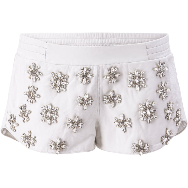 Embroidered leather runner's shorts