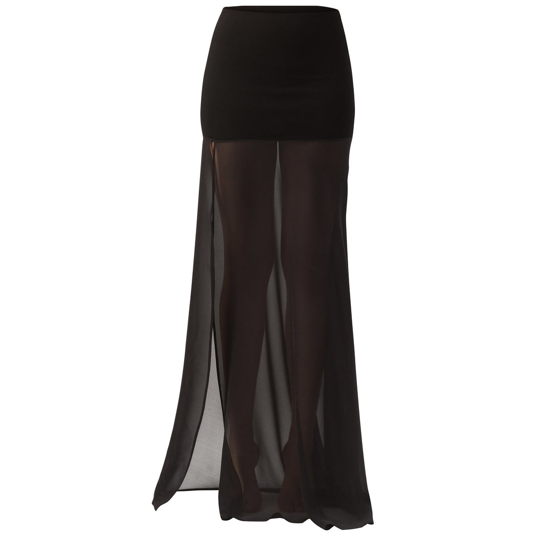 Maxi Jersey/Georgette Skirt With Slit