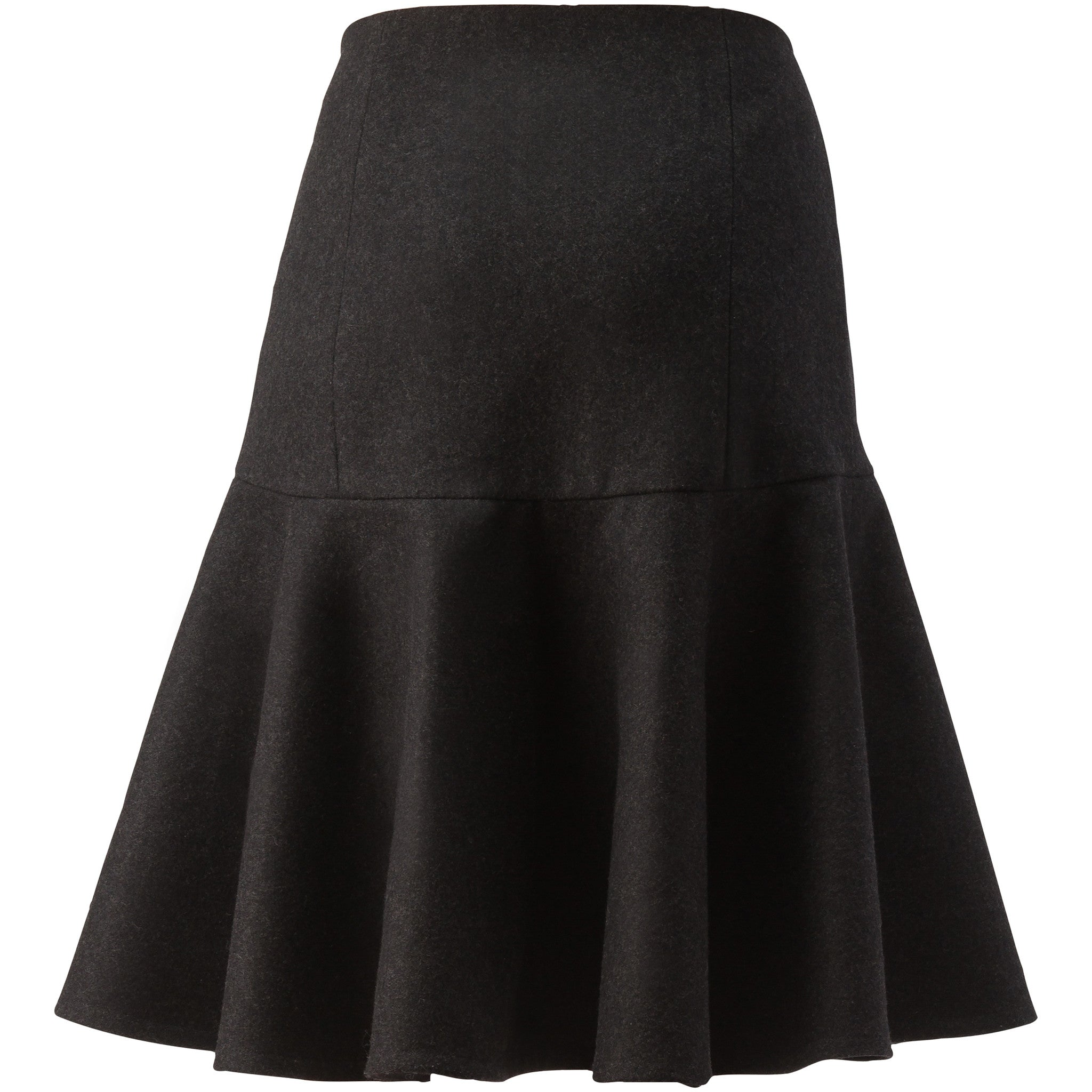 Charcoal Flared Wool Skirt