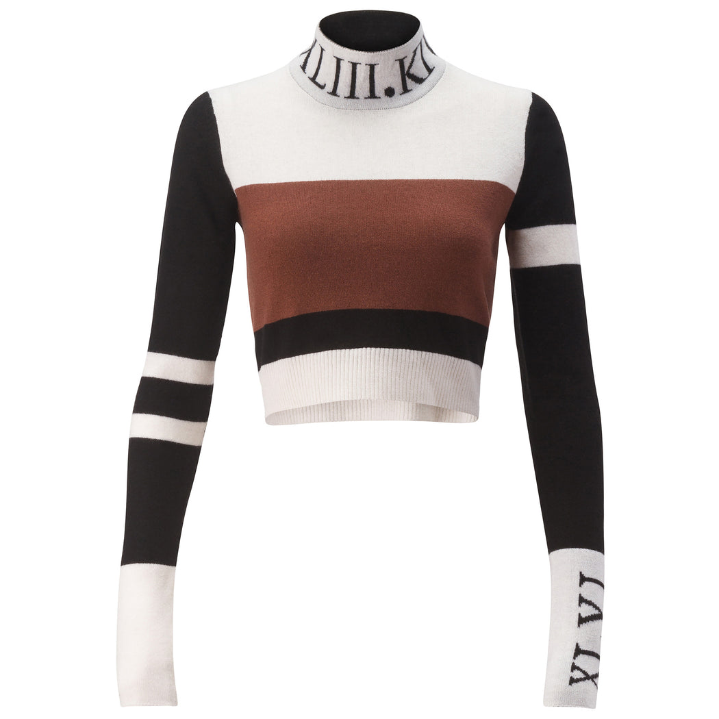 Striped Crop Turtle-Neck Sweater