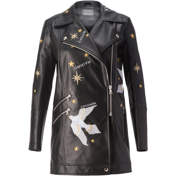 'AMORE ET TILMORE' Embroidered Boyfriend Biker Jacket