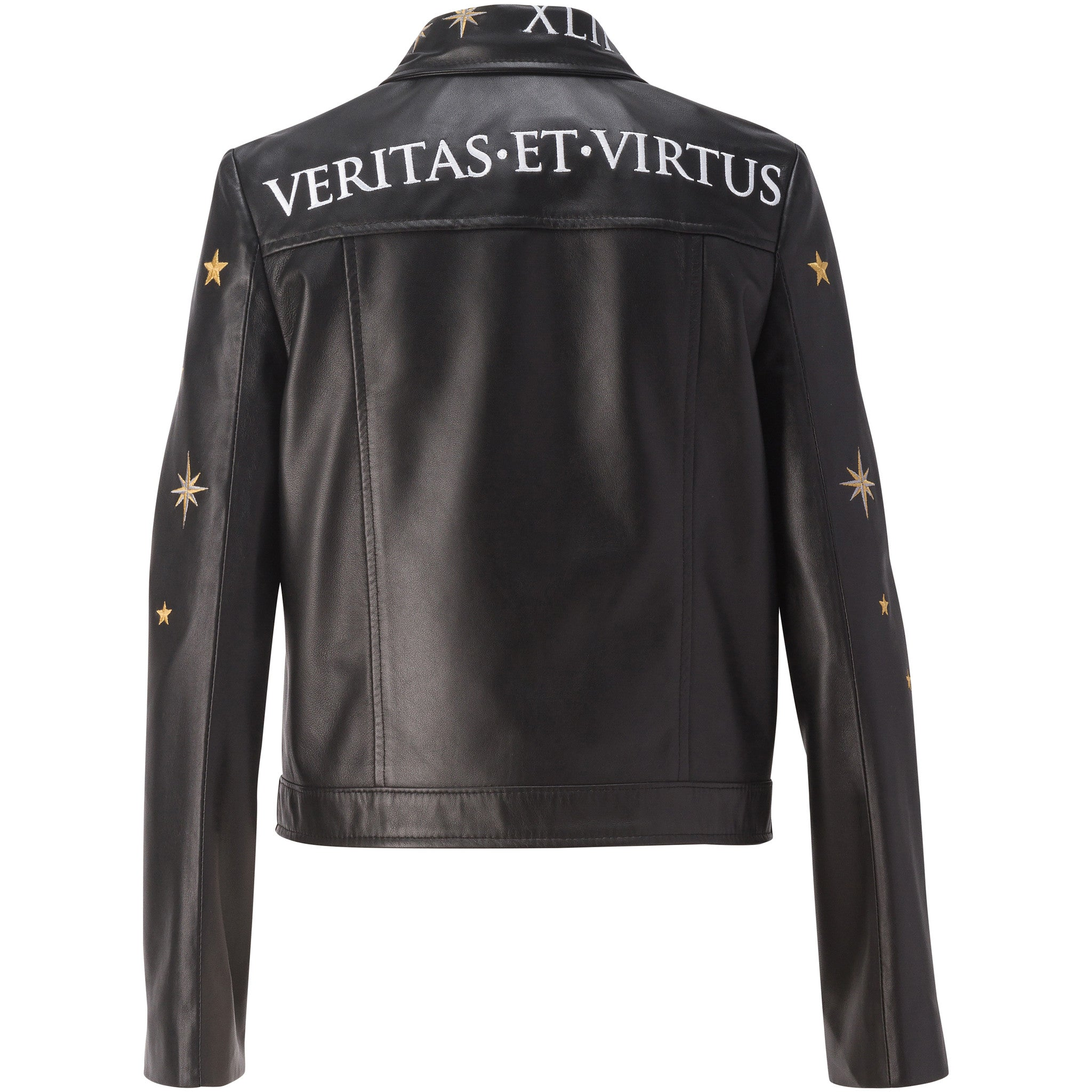 'VERITAS ET VIRTUS' Embroidered Leather Jacket