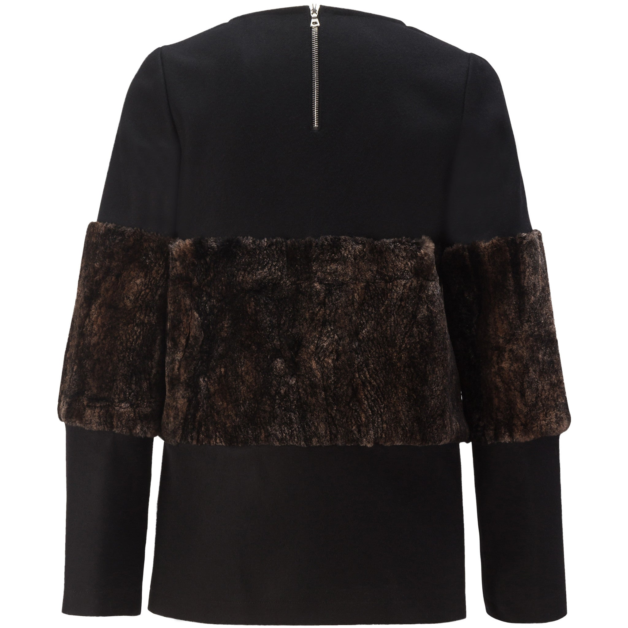 Wool Top With Fur Band