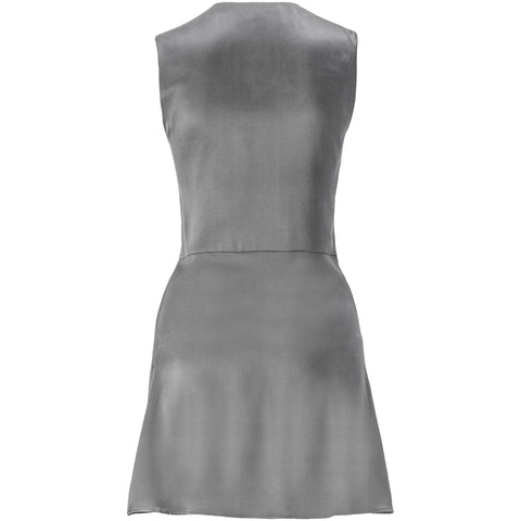 Elephant Grey Sueded-Silk Laced Mini Dress