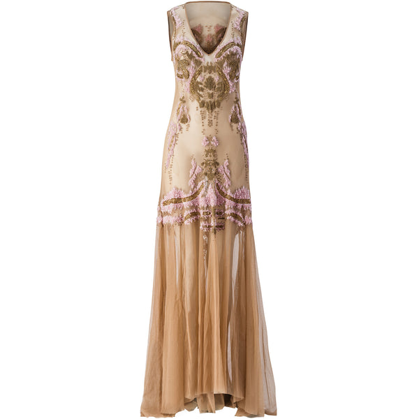 Rose Gold Embroidered Tulle V-Neck Gown