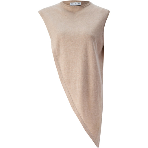 Sand Asymmetrical Silk-Cashmere Shawl Top