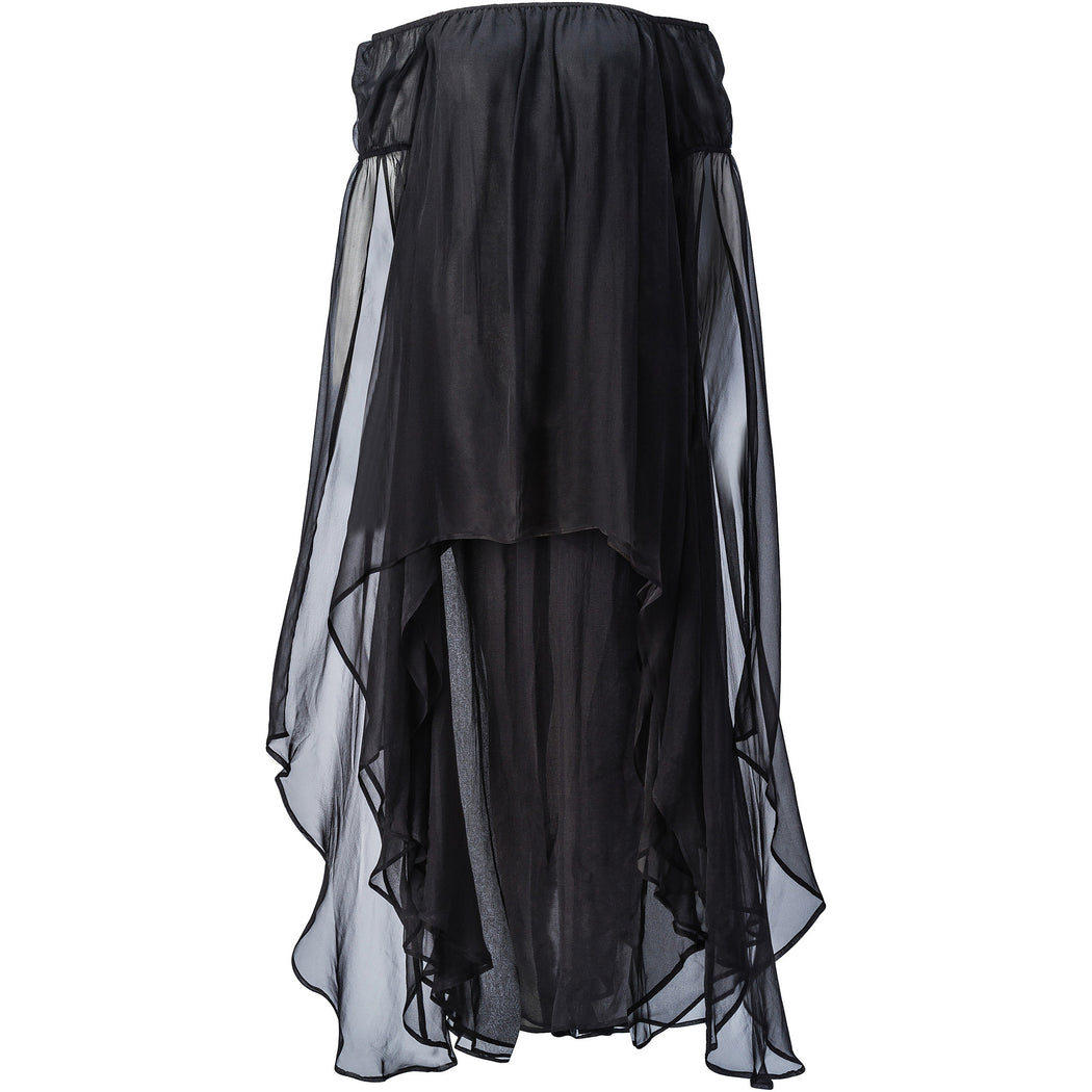 Black Off-Shoulder French Chiffon Dress
