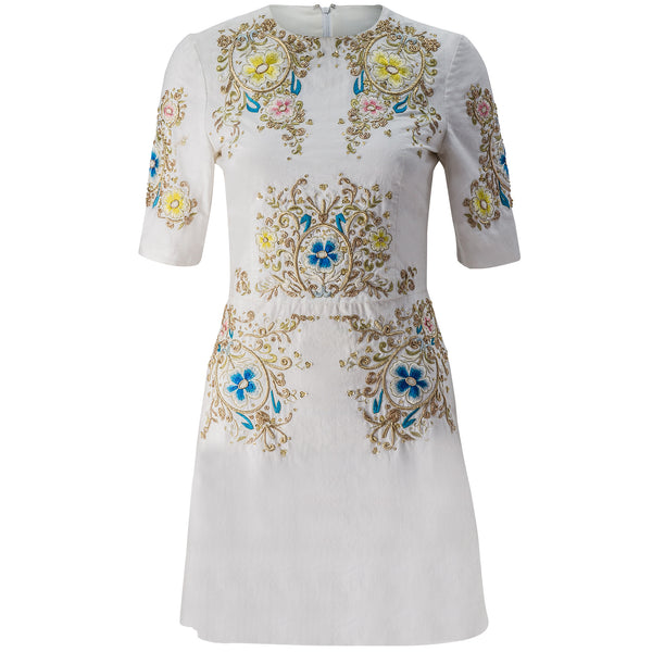Embroidered Cotton A-Line Mini Dress