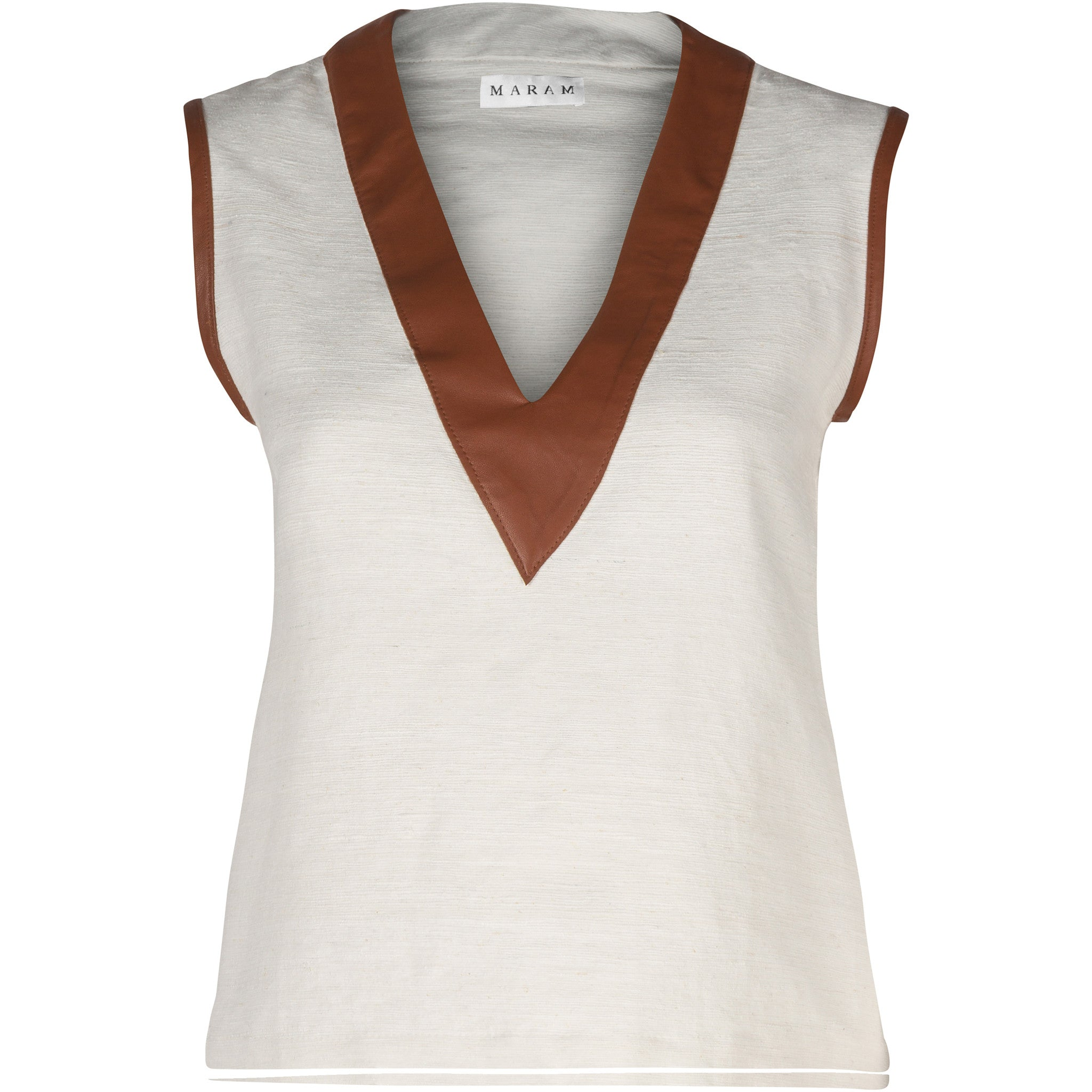 Hand-Woven Raw Silk & Lamb Leather Top